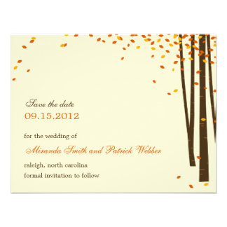 Forest Trees Save The Date Announcement - Orange - Custom Invites