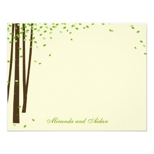 Forest Trees Thank You Cards cards - Green - Custom Announcement