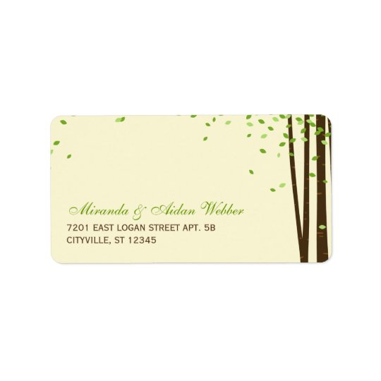 Forest Trees Wedding Address Labels