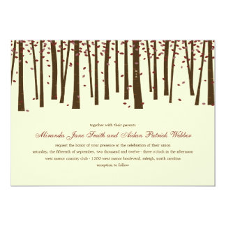 Forest Trees Wedding Invitation - Burgundy