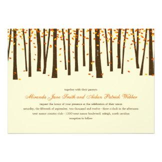 Forest Trees Wedding Invitation - Orange - Custom Invite