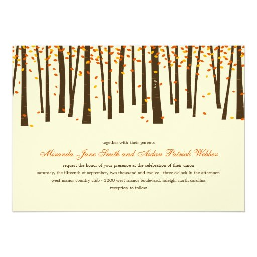 Forest Trees Wedding Invitation - Orange - Custom Invite