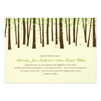 Forest Trees Wedding Invitations - Green Announcement