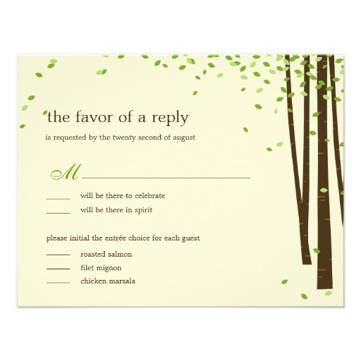Forest Trees Wedding Invitations - Green Invite