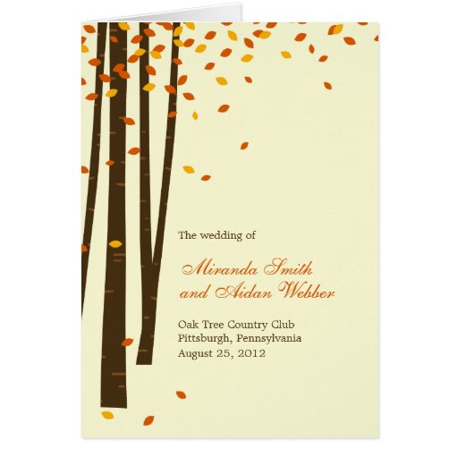 Forest Trees Wedding Program Card - Orange Card