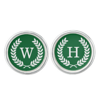 Forest White Wheat Laurel Wreath Initial Monogram Cuff Links