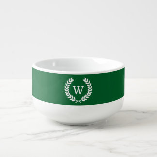 Forest White Wheat Laurel Wreath Initial Monogram Soup Mug