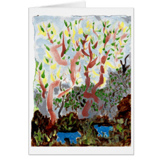 Forest with blue beasts and type note card