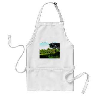 Forest with green trees and grass apron