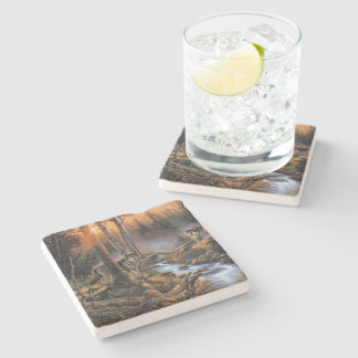 Forest Wolves Stone Coaster