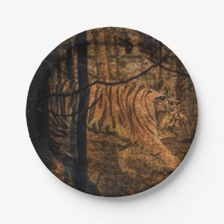 Forest Woodland wildlife Majestic Wild Tiger 7 Inch Paper Plate