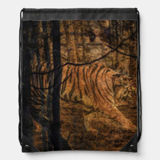 Forest Woodland wildlife Majestic Wild Tiger Drawstring Bag