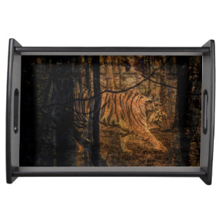 Forest Woodland wildlife Majestic Wild Tiger Serving Tray