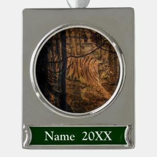 Forest Woodland wildlife Majestic Wild Tiger Silver Plated Banner Ornament