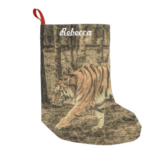 Forest Woodland wildlife Majestic Wild Tiger Small Christmas Stocking