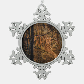 Forest Woodland wildlife Majestic Wild Tiger Snowflake Pewter Christmas Ornament