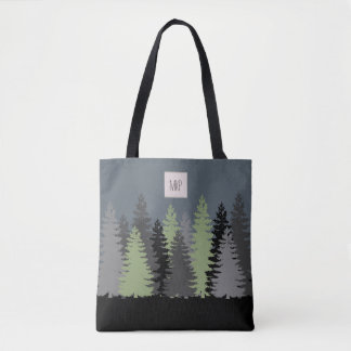 Forest Woods Pine Trees with Monogram Tote Bag