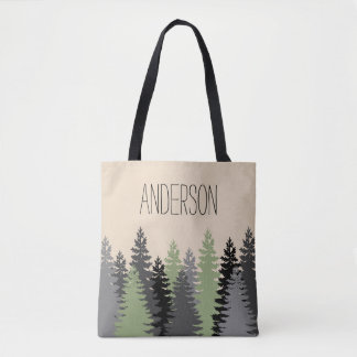 Forest Woods Pine Trees with Name Tote Bag