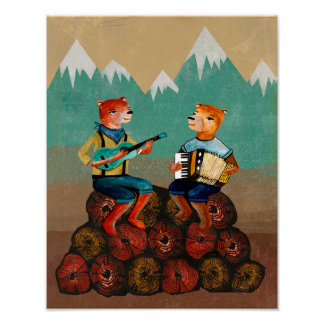 Foresters - Two Bears Playing Music Poster
