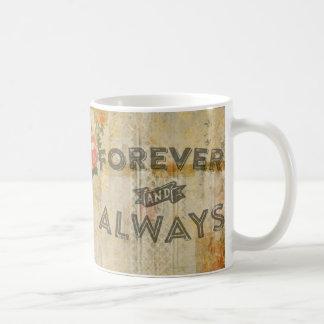 Forever and Always Flowers Vintage Coffee Mug