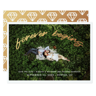 Forever Begins   Save the Date Photo Flat Card
