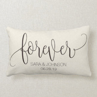 Forever, Calligraphy, Personalized Wedding Gift Lumbar Cushion