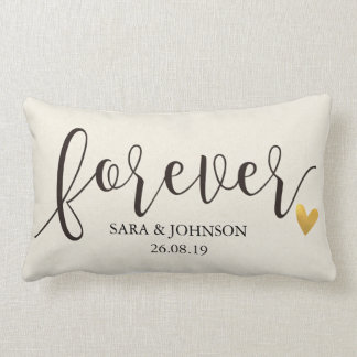 Forever,Forever Together,Personalized Wedding Gift Lumbar Cushion