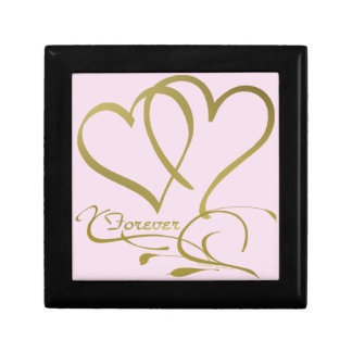 Forever Hearts Gold editable background colors Gift Box