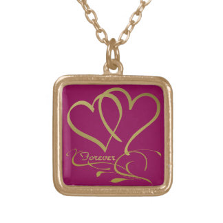 Forever Hearts Gold editable background colors Gold Plated Necklace
