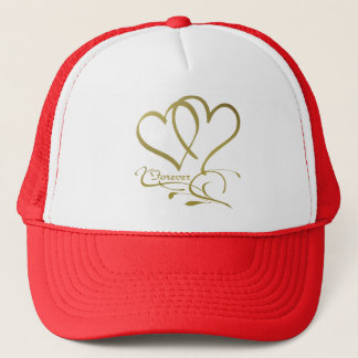 Forever Hearts Gold editable background colors Trucker Hat