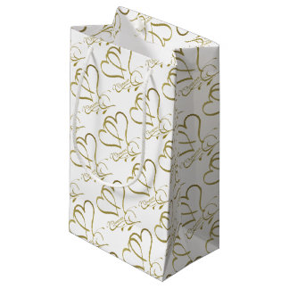 Forever Hearts Gold on White Small Gift Bag