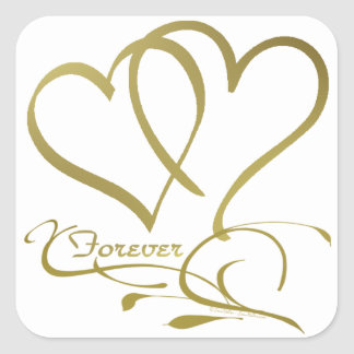 Forever Hearts Gold on White Square Sticker