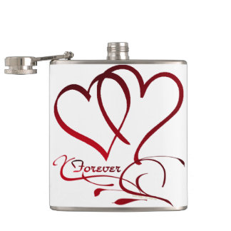 Forever Hearts Red on White Hip Flask