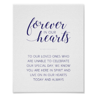 Forever In Our Hearts Wedding - Navy - Alejandra Poster