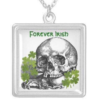 FOREVER IRISH SKULL AND SHAMROCK PRINT CUSTOM NECKLACE