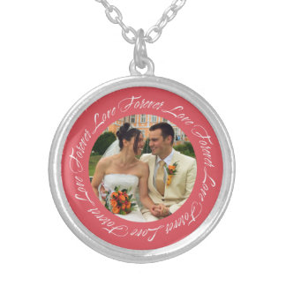 Forever love berry pink frame memento circle photo round pendant necklace