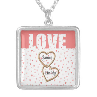 Forever Love Hearts and Custom Names Silver Plated Necklace