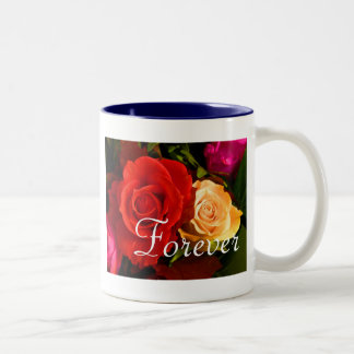 Forever Love Red Yellow Rose Two-Tone Coffee Mug