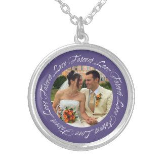Forever love violet frame memento circle photo round pendant necklace