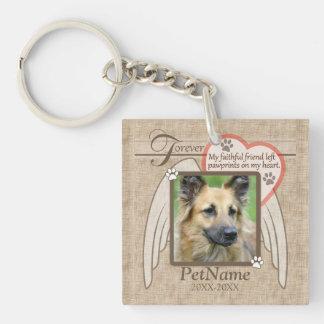 Forever Loved Angel Wings Pet Sympathy Custom Key Ring