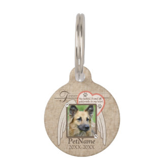 Forever Loved Angel Wings Pet Sympathy Custom Pet Name Tag