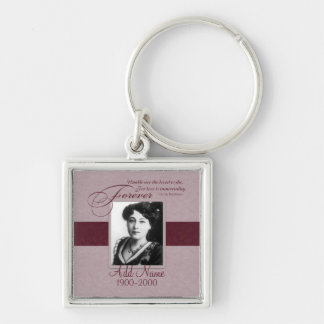 Forever Loved Custom Memorial Silver-Colored Square Key Ring