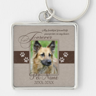 Forever Loved Pet Sympathy Silver-Colored Square Key Ring