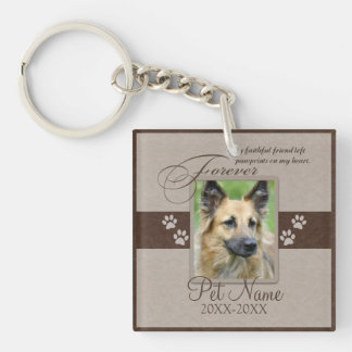 Forever Loved Pet Sympathy Single-Sided Square Acrylic Key Ring