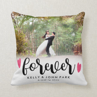 Forever Overlay Script Custom Names Wedding Photo Throw Pillow