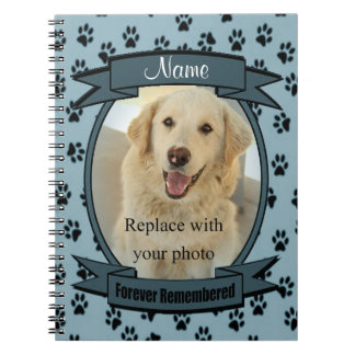 Forever Remembered Pet Loss - Dog or Cat (blue) Spiral Notebook