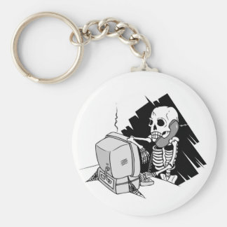 forever skeleton on hold tech support basic round button key ring