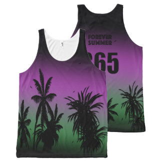 Forever Summer 365 Aurora Borealis Palms Night Sky All-Over Print Singlet