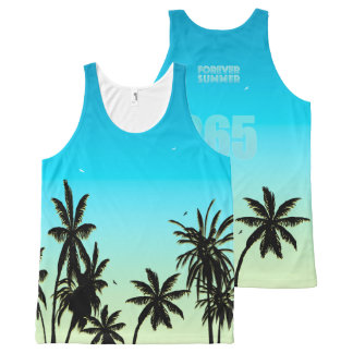 Forever Summer 365 Blue Sky Fade Palm Trees All-Over Print Singlet