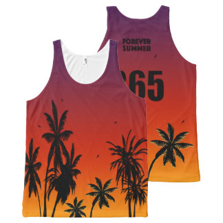 Forever Summer 365 Tahiti Sunset Fade Palm Trees All-Over Print Singlet